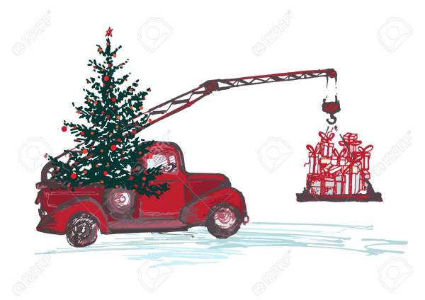 Festive New Year 2018 card. Red truck crane with fir tree decorated red balls and Christmas gifts isolated on white background